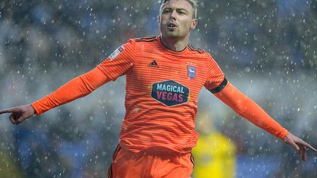 Freddie Sears celebrates putting Ipswich Town back in front at the Madejski Stadium. Photo: Pagepix