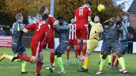GOAL! Miles Powell (11) heads downwards to claw a goal back for the Seasiders Photo; STAN BASTON
