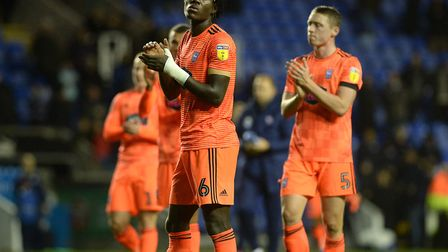 Trevoh Chalobah and Matthew Pennington applaud the Ipswich supporters following the Blues' draw at R