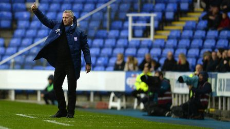 Ipswich Manager Paul Lambert gives the thumbs up on the touchline at Reading. Picture Pagepix