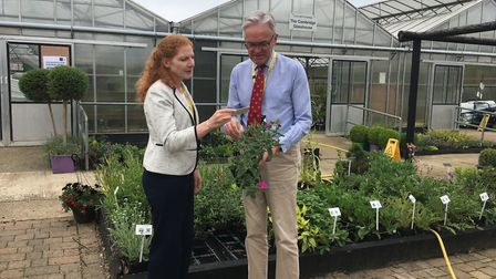Principal Jane Townsend and chair of governors Mark Pendlington in the horticultural area at the Otl
