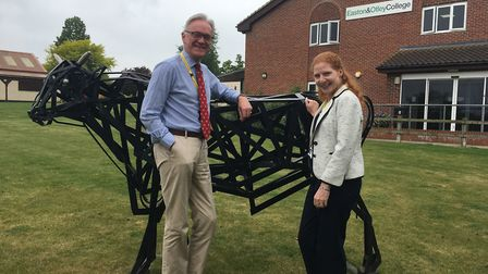 Chair of governors Mark Pendlington and principal Jane Townsend at the Otley campus of Easton and Ot