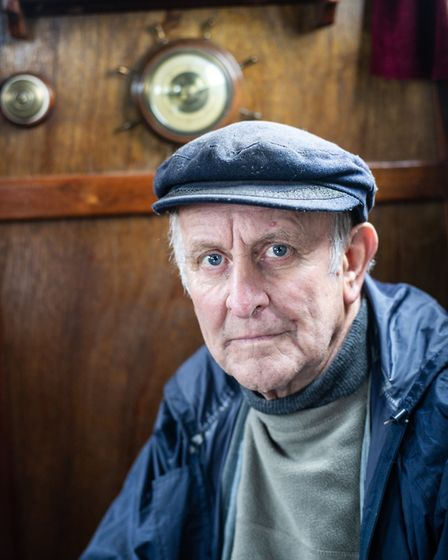 Tony Rose inside the boat that he has restored Picture: SARAH LUCY BROWN