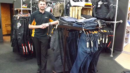 Orwell Motorcycles parts, clothing and accessories manager Dave Forster with Rev'it's range special