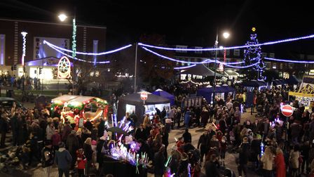 The Felixstowe Christmas lights switch-on ceremony at The Triangle Picture: NIGEL BROWN