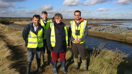 From left to right: Adam Rowland, David Kemp, Therese Coffee MP and Aaron Howe on Havergate Island.