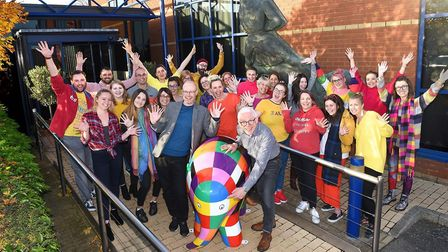 The Elmer herd grows as Fred. Olsen Cruise Lines staff celebrate with him Picture: GREGG BROWN