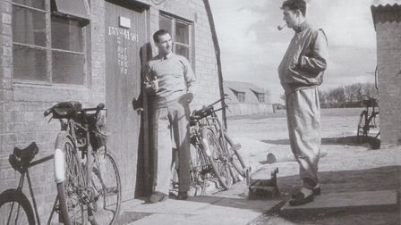Officers relax outside a wartime hut Picture: LONDON STANSTED AIRPORT