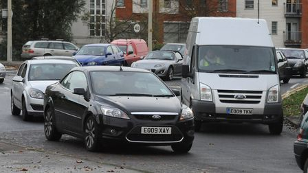 A traffic queue at Westway roundabout in Colchester. Picture: ANDREW PARTRIDGE