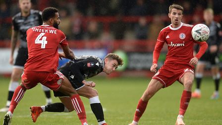 Sammie Szmodics looks to get past Accrington defender Michael Ihiekwe during yesterday's FA Cup firs