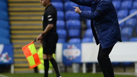 Ipswich Manager Paul Lambert is very animated on the touchline at Reading Picture Pagepix
