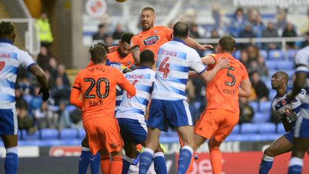 Luke Chambers and Jordan Roberts combine to miss a first half headed chance at Reading Picture Pagep