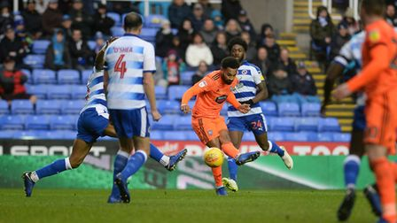 Jordan Roberts shooting during the first half at Reading Picture Pagepix