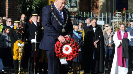The Bury St Edmunds Remembrance Day parade and wreath laying ceremony on the Angel Hill. Bury St Edm