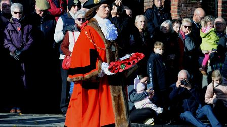 The Bury St Edmunds Remembrance Day parade and wreath laying ceremony on the Angel Hill. Mayor of S
