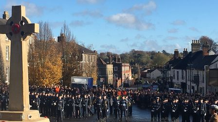 The silence was impeccably observed on Angel Hill in Bury St Edmunds Picture: MICHAEL STEWARD