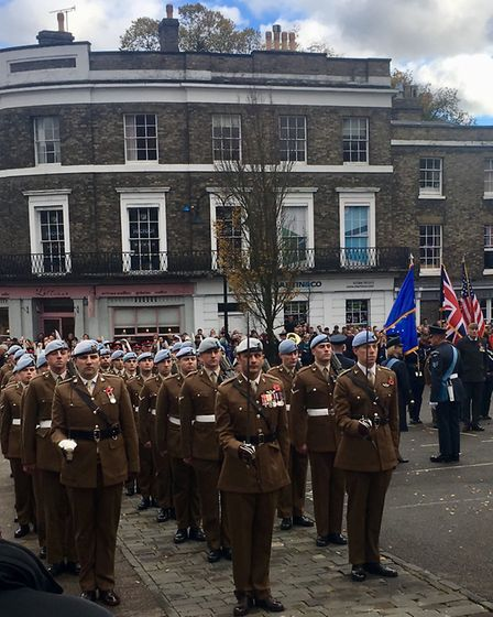 Huge crowds watched this year's Remembrance Day service in Bury St Edmunds Picture: MICHAEL STEWARD