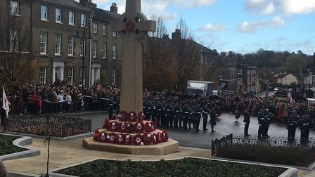 The war memorial in Bury St Edmunds on Remembrance Sunday Picture: MICHAEL STEWARD