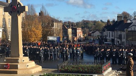 The parade marched to the war memorial before the wreath laying ceremony Picture: MICHAEL STEWARD