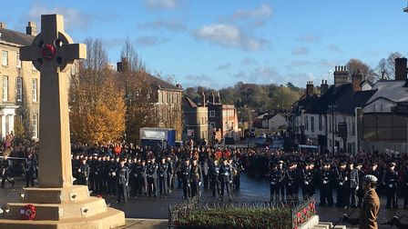 The parade gets under way for the 2018 Armistice Dat commemorations in Bury St Edmunds. Picture: MIC