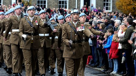 The Bury St Edmunds Remembrance Day parade and wreath laying ceremony on the Angel Hill Picture: AND