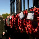 Gathering at the Memorial Gates by the Recreation Ground in Stowmarket for the Remembrance Day wreat
