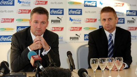 Paul Lambert (left) is unveiled as the new manager of Colchester United by chairman Robbie Cowling i