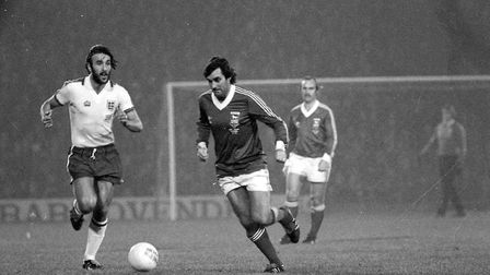 George Best in action during Bobby Robson testamonial match in 1979