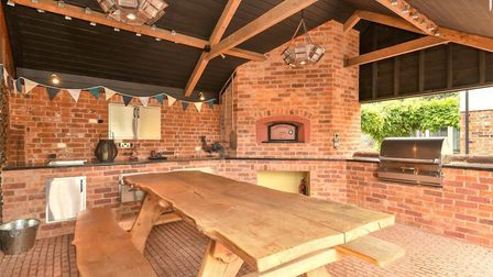 The eating area with a pizza oven at Fornham Road Farm Picture: BEDFORDS