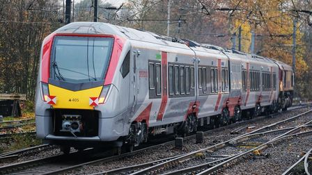 The new Stadler train passes through Ipswich station. Picture: GREATER ANGLIA