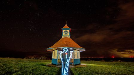 """A drawing of """"Tommy"""" in light at Frinton beach shelter. Picture: KEVIN JAY"""