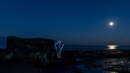 """A light drawing of """"Tommy"""" at the Naze at Walton. Picture: Lee Jordan Bland"""