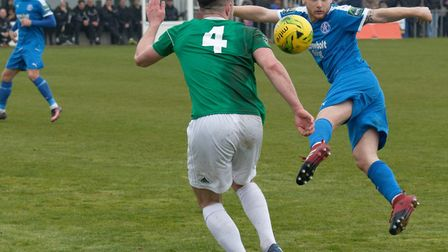 Leiston's Byron Lawrence, on target for the Blues on Saturday Photo: PAUL VOLLER