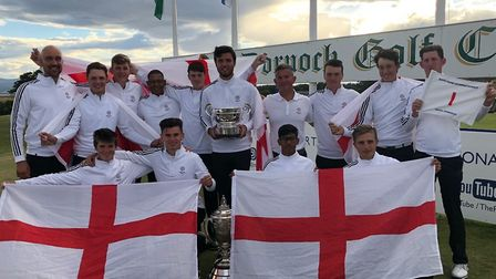 The England team which won the Boys' Home Internationals at Royal Dornoch. Habebul Islam is second f