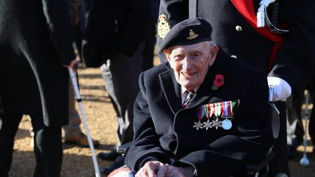 Eric Cook prior to the Remembrance Service and parade at the Cenotaph. Picture: BLIND VETERANS UK