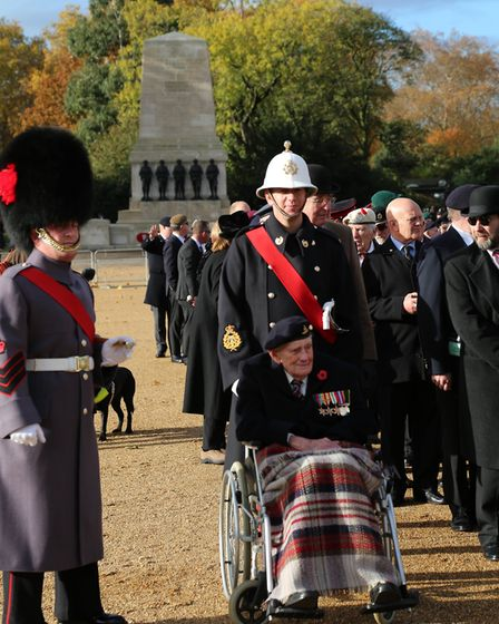 Eric Cook and WO Second Class Julian Cook prior to the Remembrance Service and parade at the Cenotap