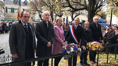Terry Clements, left, with other dignitaries at the Centenaire de L'Armistice in Compiegne. Picture: