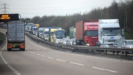 A broken down car on the A14 at Copdock held up traffic this morning. Picture: ARCHANT