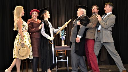 Pictured, left to right, are some of the cast of the Woolpit Drama Club's productioni of 'The Happie
