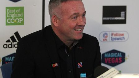 All smiles for Paul Lambert as he is unveiled as the new Ipswich Town manager. Photo: Ross Halls