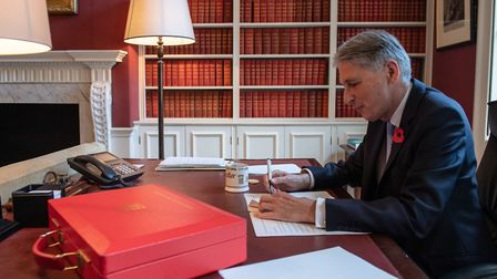 Chancellor of the Exchequer Philip Hammond, prepares his speech in his office in Downing Street.Pict