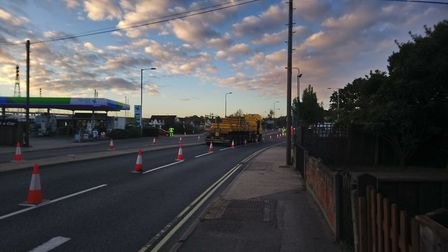 Workers preparing Bourne Bridge for the passing abnormal load Picture: KATY SANDALLS