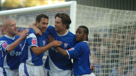 Alan Lee celebrates one of his three goals on this day in 2006