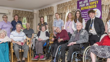 YOPEY Befrienders with residents at Hillside Care Home in Great Cornard. Picture: PAUL SANWELL