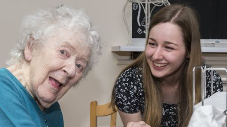 Chloe Jackson with Hillside Care Home resident Mary Driscol. Picture: PAUL SANWELL