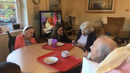 Chloe Jackson chats to residents at Hillside Care Home. Picture: RUSSELL COOK