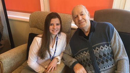 Kyra Nel with Hillside Care Home resident Leonard Plant. Picture: RUSSELL COOK