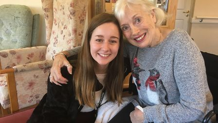 Chloe Jackson with Hillside Care Hom resident Yvonne Glen. Picture: RUSSELL COOK