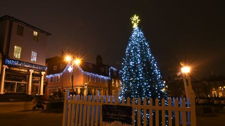 Angel Hill illuminated with the Christmas lights Picture: SARAH LUCY BROWN
