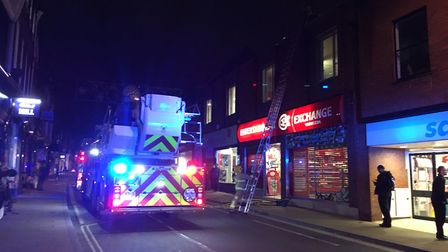 The fire broke out in a flat above the CEX shop in Upper Brook Street, Ipswich. Picture: MEGAN ALDOU